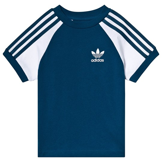 adidas Originals Blue and White Branded Tee legend marine/white