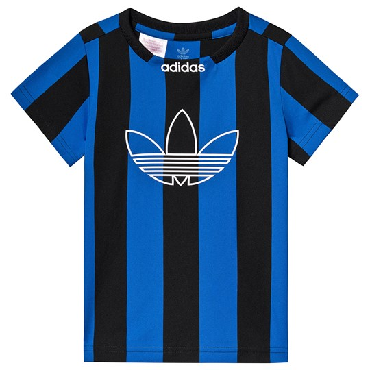 adidas Originals Black and Blue Stripe Trefoil Jersey Tee Black/blue