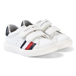Tommy Hilfiger White, Red and Navy Stripe Velcro Sneakers