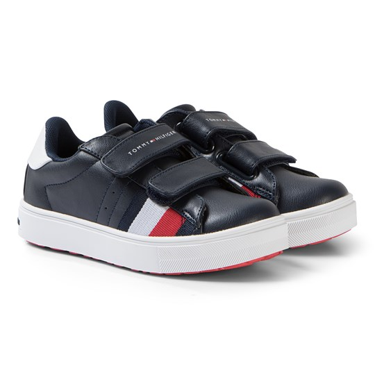 Tommy Hilfiger Navy and White Logo Velcro Sneakers X007