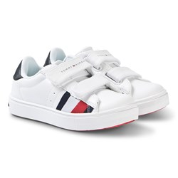 Tommy Hilfiger White and Red Logo Velcro Sneakers