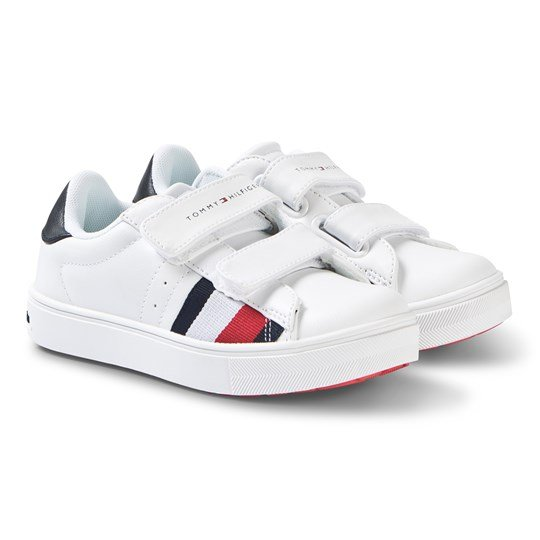 Tommy Hilfiger White and Red Logo Velcro Sneakers X008