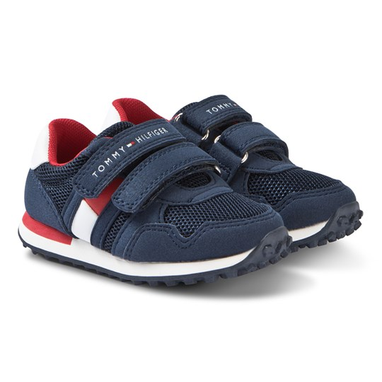 Tommy Hilfiger Navy, Red and White Branded Velcro Sneakers 800