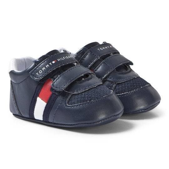Tommy Hilfiger Navy Branded Crib Shoes X007