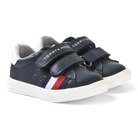 Tommy Hilfiger Navy, Red and White Stripe Velcro Sneakers X007