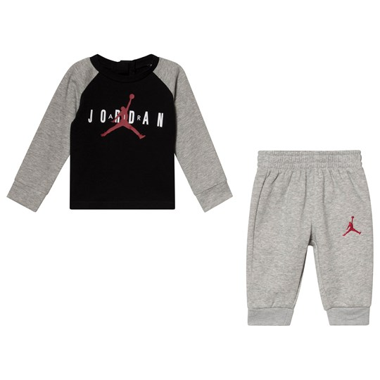 Air Jordan Grey and Black Premium Jordan Top and Bottom Set R78 GYM RED