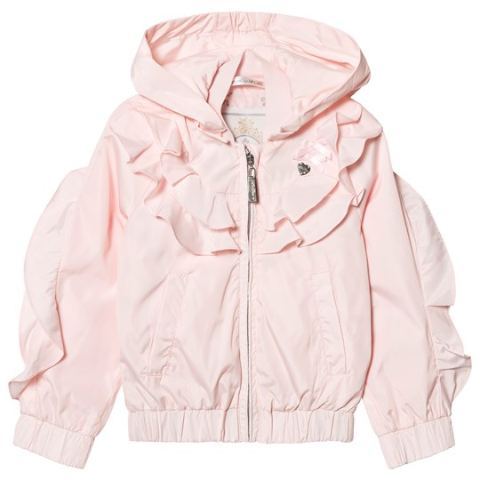 Le Chic Pink Ruffle Front Hooded Short Coat 205