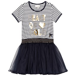 Le Chic Navy and White Stripe Tulle Dress