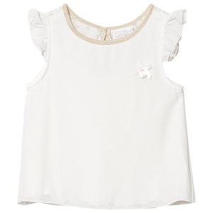 Image of Le Chic Cream Frill Shoulder and Lace Sleeveless Top 116 (5-6 years) (1217686)