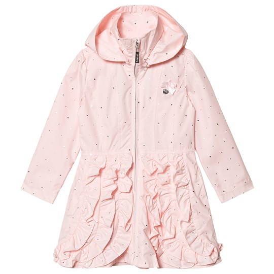 Le Chic Pink and Gold Ruffle Front Hooded Coat 205