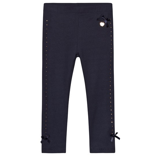 Le Chic Navy Diamante Detail Leggings with Bow 190