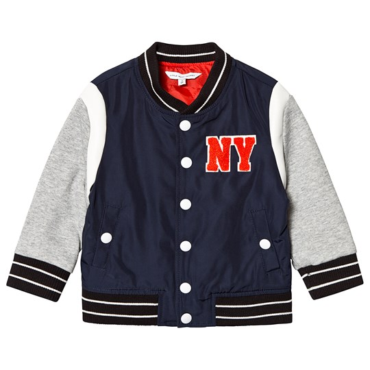 Little Marc Jacobs Navy and Grey Branded Varsity Jacket A43
