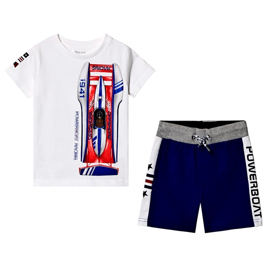 Mayoral White Racing Boat Tee and Blue Shorts Set 95