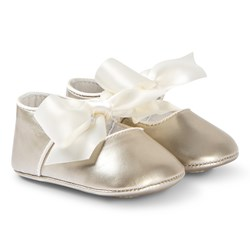 Mayoral Gold Bow Detail Crib Shoes