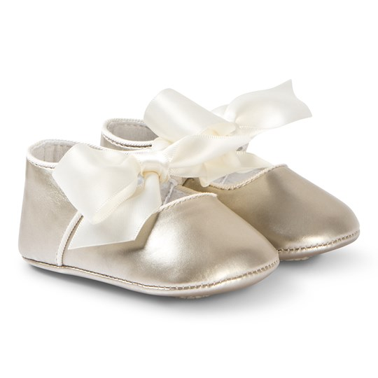 Mayoral Gold Bow Detail Crib Shoes 32