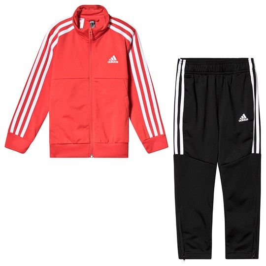 adidas Performance Red and Black Tracksuit Top:active red/white Bottom:BLACK/WHITE