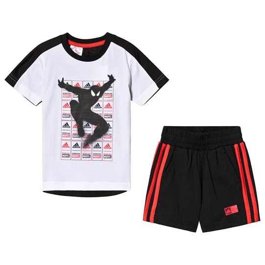 adidas Performance White, Black and Red Spiderman Set Top:white/black/active red Bottom:BLACK/ACTIVE RED