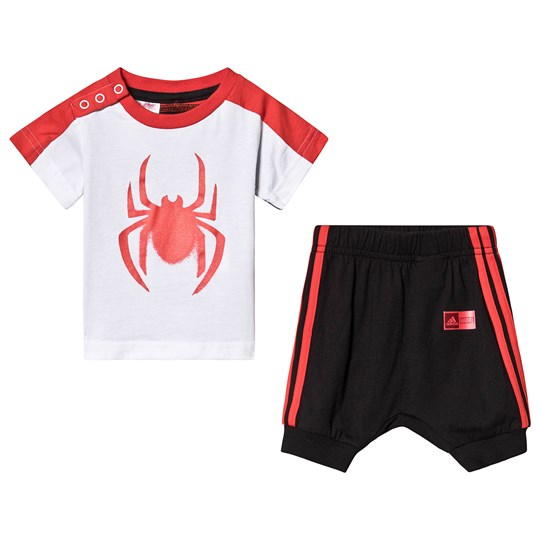 adidas Performance Spiderman Tee and Bottoms Set Multicolor Top:white/black/active red Bottom:BLACK/ACTIVE RED