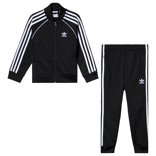 adidas Originals Black Branded Tracksuit Top:BLACK/WHITE Bottom:BLACK/WHITE