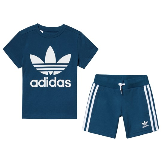 adidas Originals Blue Trefoil Logo Tee and Short Set Top:legend marine/white Bottom:LEGEND MARINE S19/W
