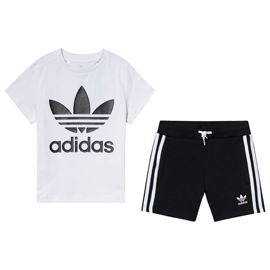 adidas Originals White and Black Trefoil Tee and Short Set Top:WHITE/BLACK Bottom:BLACK/WHITE