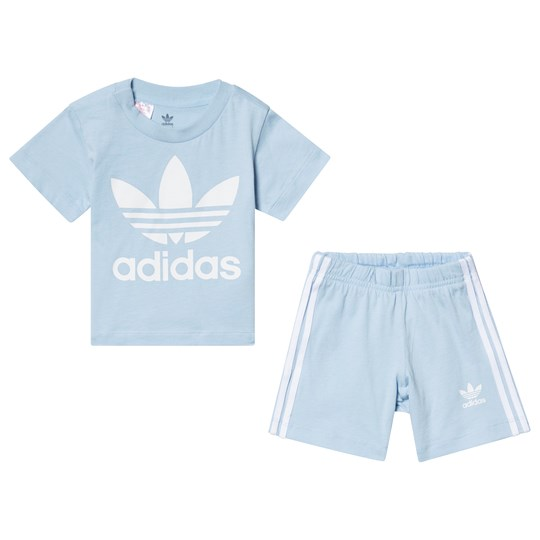 adidas Originals Blue Trefoil Tee and Short Set Top:clear sky/white Bottom:CLEAR SKY/WHITE