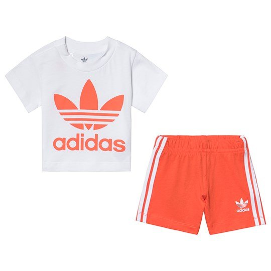 adidas Originals White and Orange Trefoil Tee and Short Set Top:white/active orange Bottom:ACTIVE ORANGE S19/W