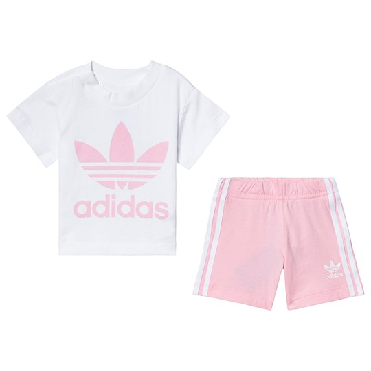 adidas Originals White and Pink Trefoil Tee and Short Set Top:white/light pink Bottom:LIGHT PINK/WHITE