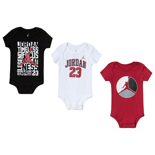 Air Jordan White, Black and Red Jumpman 3 Pack Infant Baby Body Set R78 GYM RED