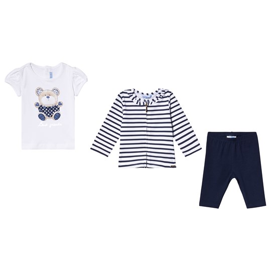 Mayoral White Teddy Print Tee, Navy Leggings & Full Zip Stripe Caridgan Set 63