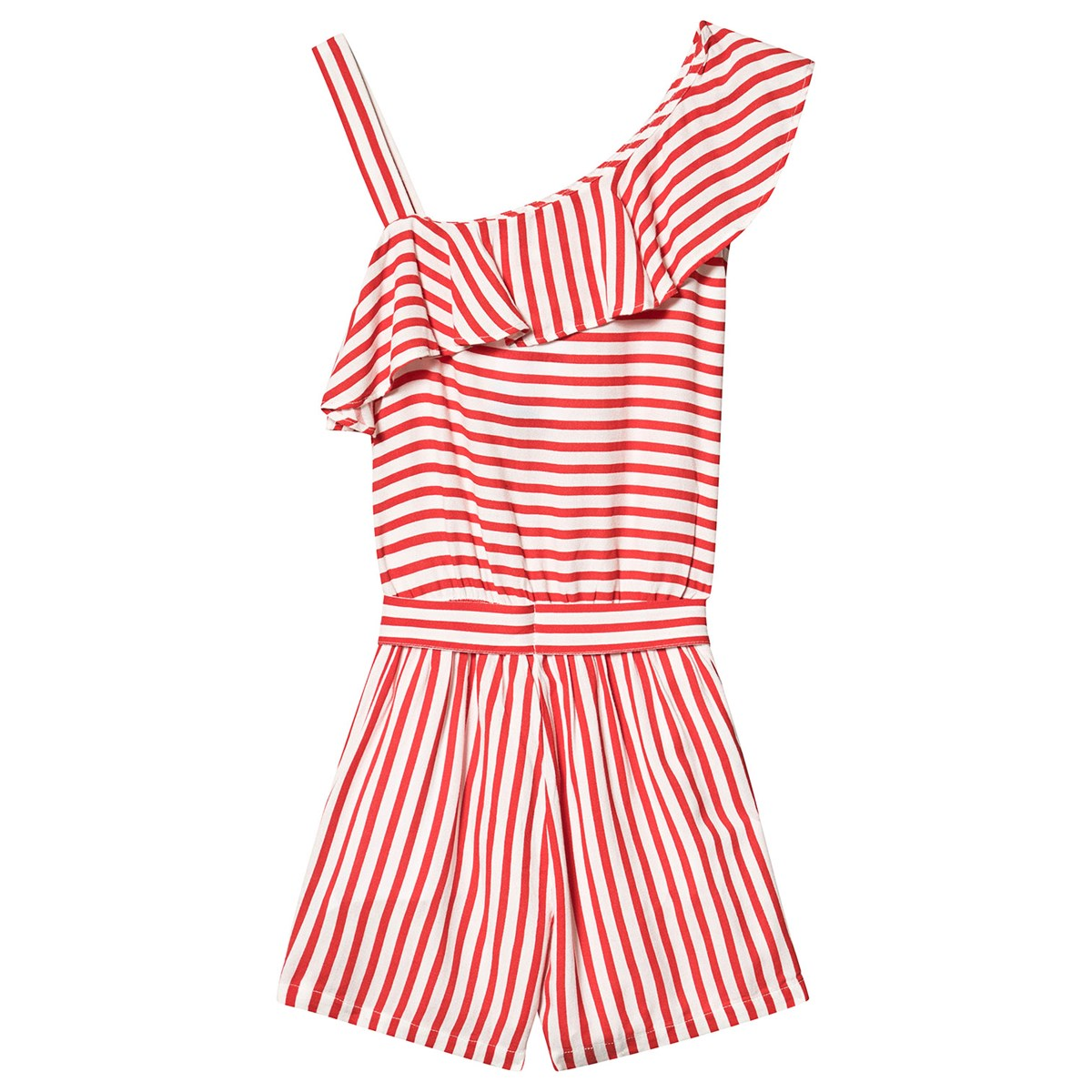 Stripe One Shoulder Ruffle Playsuit Röd - Mayoral - Babyshop 41c6f21a51a08