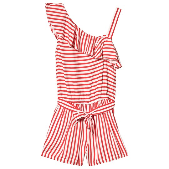 Mayoral Red Stripe One Shoulder Ruffle Playsuit 85