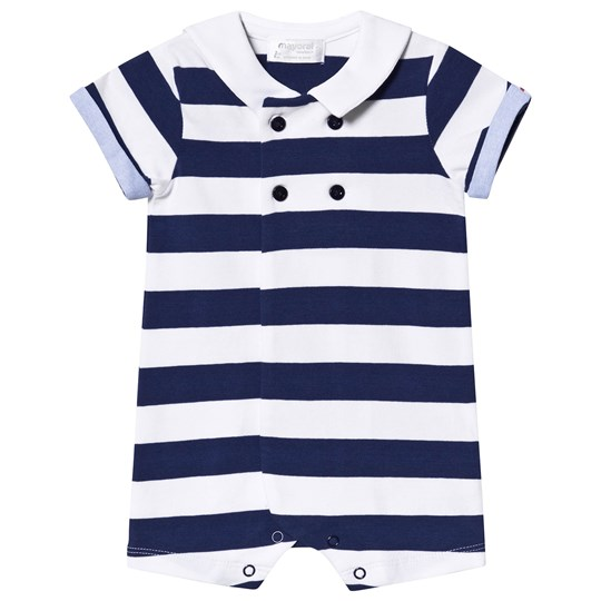 Mayoral Navy and White Stripe Nautical Sailor Romper 10