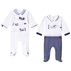 Mayoral the White and Navy Aeroplane Embroidered 2-Pack Footed Baby Body