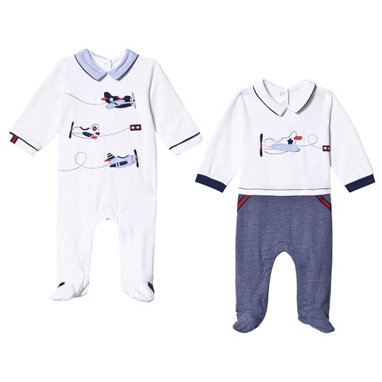 Mayoral the White and Navy Aeroplane Embroidered 2-Pack Footed Baby Body 19