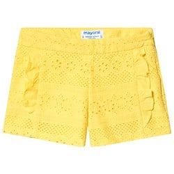 Mayoral Yellow Broderie Anglaise Ruffle Detail Shorts