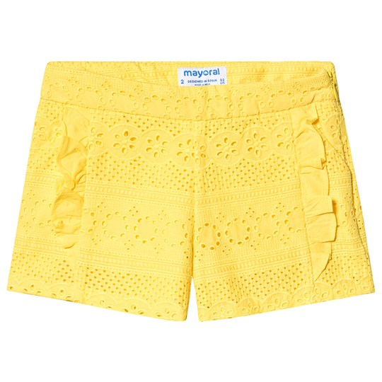 Mayoral Yellow Broderie Anglaise Ruffle Detail Shorts 58