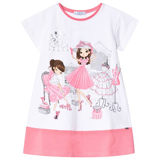Mayoral White and Pink Two Girls Shopping Tee 76