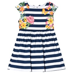 Mayoral Navy and White Stripe Floral Print Dress
