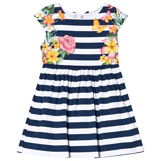 Mayoral Navy and White Stripe Floral Print Dress 37