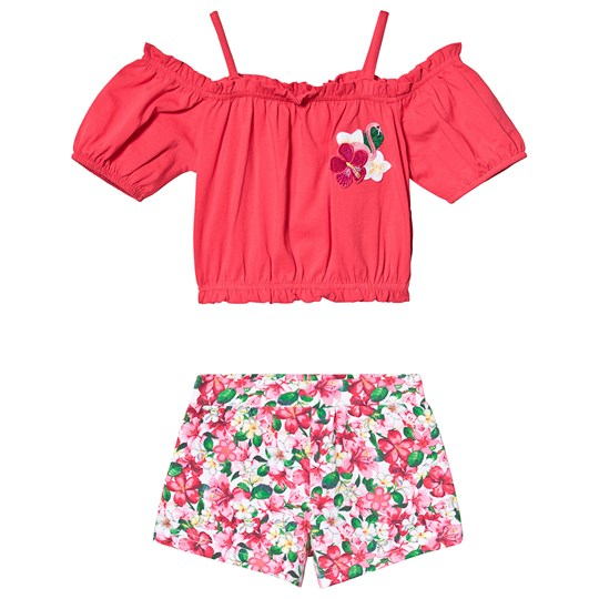 Mayoral Pink Floral Print Crop Top and Shorts Set 23