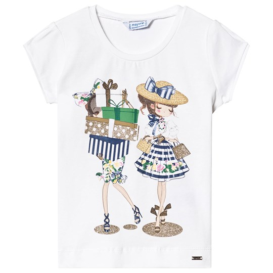 Mayoral Navy and White Two Girl Shopping Tee 11