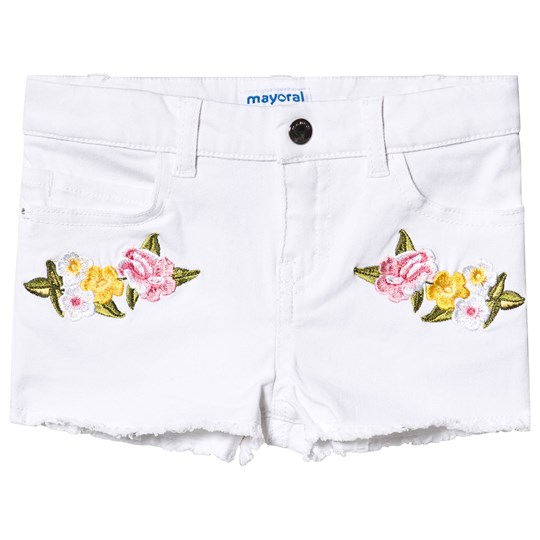 Mayoral White Denim Floral Frayed Hem Shorts 65