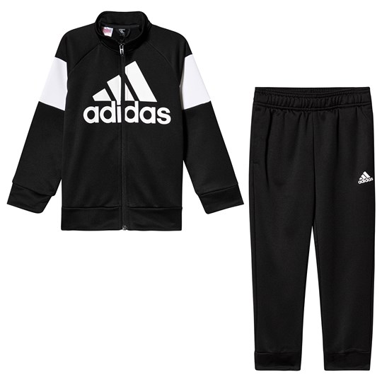 adidas Performance Black and White Logo Tracksuit Top:BLACK/WHITE Bottom:BLACK/WHITE