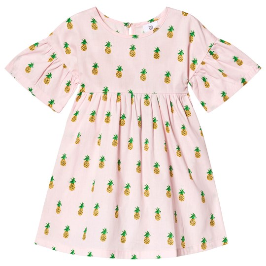 Hootkid Pink Pineapple Print Gathered Sleeve Dress Pink Pineapple