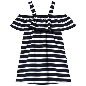 Image of Hootkid Navy White Stripe Off The Shoulder Dress 5 år (1243965)