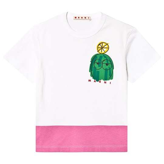 Marni White and Pink Wollie Wollie Tee 0M100