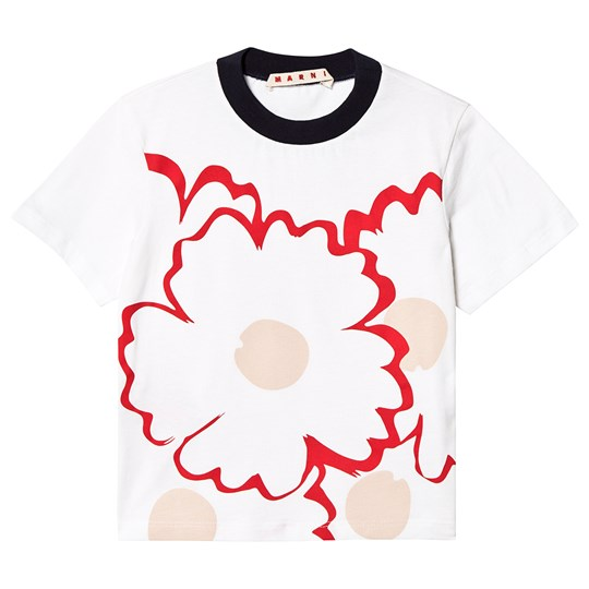 Marni White with Red Flowers Tee 0M100