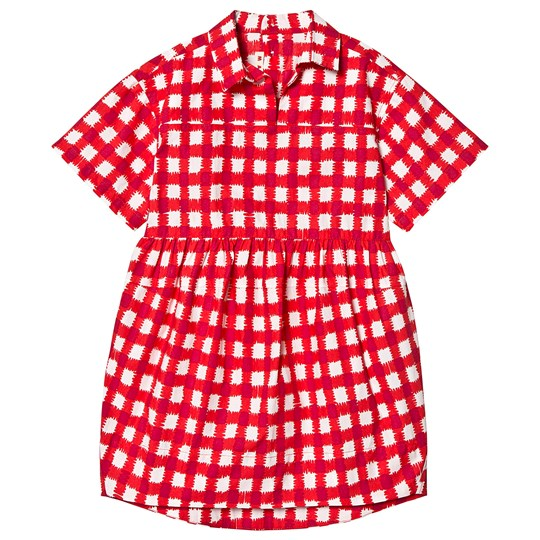 Marni Red Collar Check Dress 0M414
