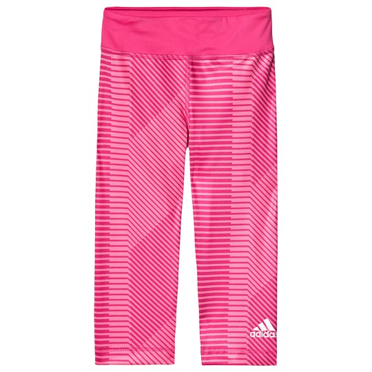 adidas Performance Pink Stripe Pattern Capri Leggings semi solar pink/real magenta/white